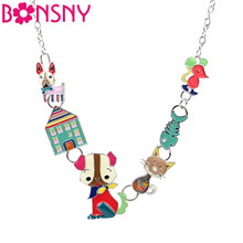 Bonsny Statement Enamel Dog Cat Fish Mouse House Choker Necklace Pendant Chain Collar New Fashion Animal Jewelry For Women(China)