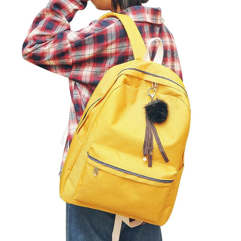 DCIMOR 2018 Women Girls Backpack Canvas Backpacks School Bags For Teenagers Girl Mochila Feminina Students Hair ball Book Bags dcimor high quality women backpack large capacity backpacks for teenagers women s travel bags mochilas school bags book bags