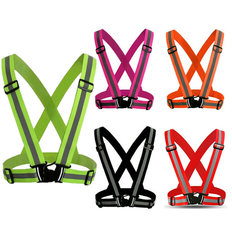 Hot 2019 Reflective Vest High Visibility Safety Strap Cycling Jogging Running Adjustable Safety Clothing Belt Striped Night Run