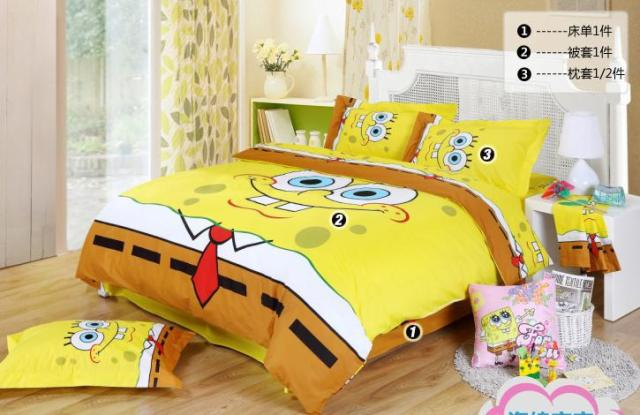 Spongebob Queen Bedding/Kids Queen Size Bedding Sheets/Free Shipping / Comforter Set/