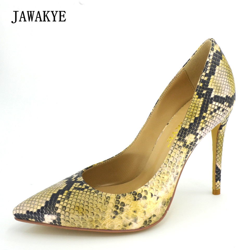 JAWAKYE Snake Printed Genuine Leather Women Pumps Sexy Pointed Toe 100 mm High Heels Shoes Women Stilettos Wedding Shoes Woman ldhzxc women mary janes pumps sexy pointed toe gladiator high heels shoes woman blue genuine leather stilettos shoes woman pumps