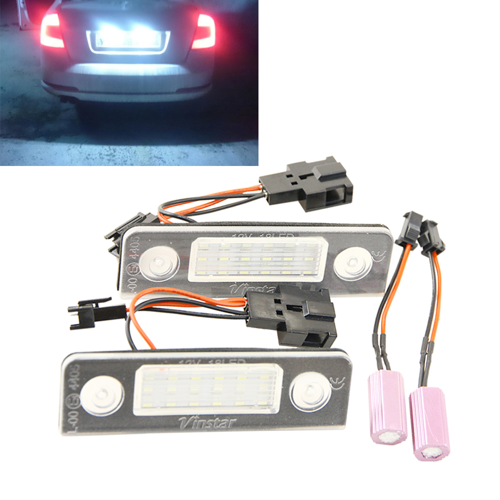 2x 18 SMD Error Free LED LICENSE PLATE LIGHT For Skoda Octavia 2008+ Facelift Roomster Car Light Sourcing Parking 2pcs brand new high quality superb error free 5050 smd 360 degrees led backup reverse light bulbs t15 for jeep grand cherokee