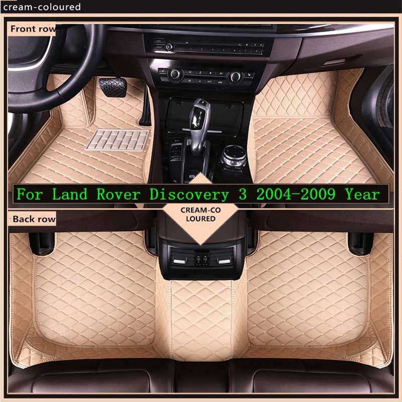 New 3D Leather Car Floor Mats For Land Rover Discovery 3 2004 2009 Custom Auto Foot Pad Automobile Carpet Cover Waterproof Mat