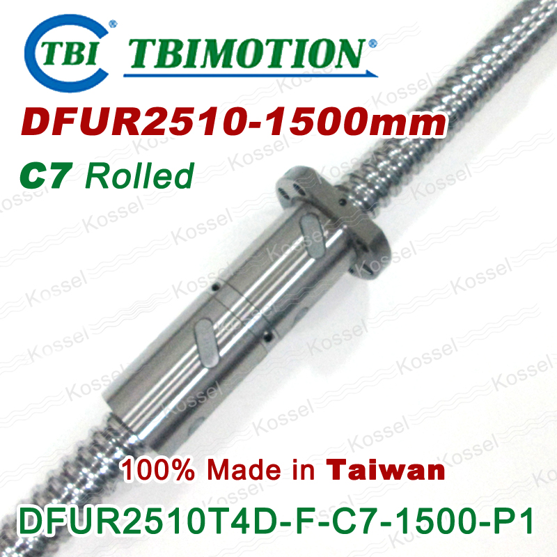 TBI CNC Ballscrew 2510  1500mm DFU2510 ball screw with one Double ball nut винт tbi sfkr 0802t3d