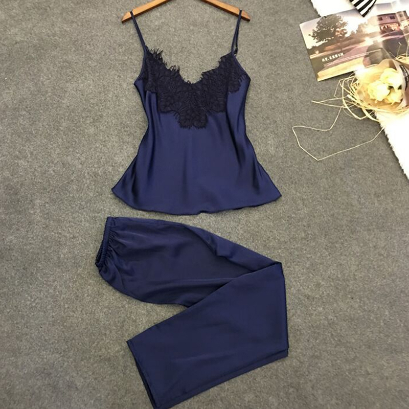 Women Sleep   Set   Summer Lace   Pajama     Set   Sleepwear Women   Pajamas   Lace camis+ Pants 2 Pices   Set
