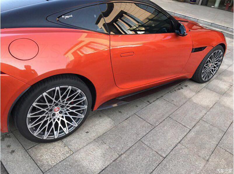 JIOYNG Auto In Fibra di Carbonio Laterale Del Corpo Gonne Copertura Kit Per 14-18 Jaguar F-TYPE PER 2015 2016 2017 2018 da Fedex