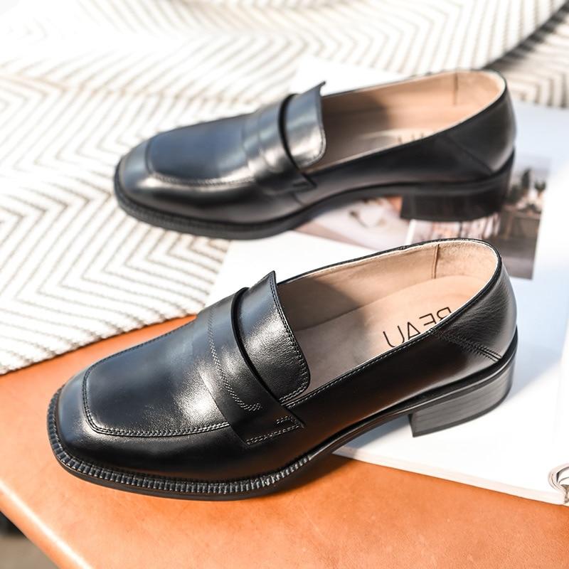 BeauToday Loafers ผู้หญิงยี่ห้อ Cow หนังสแควร์ Toe Slip   On แฟลตสไตล์ Lady รองเท้าหนังวัวแท้ Handmade 21608-ใน รองเท้าส้นเตี้ยสตรี จาก รองเท้า บน   3