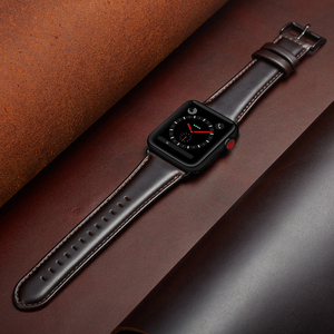 Image 5 - Bracelet en cuir véritable de vache pour Apple bracelet de montre 42 mm 44 mm vioto pour montre iWatch 5 4, marron foncé
