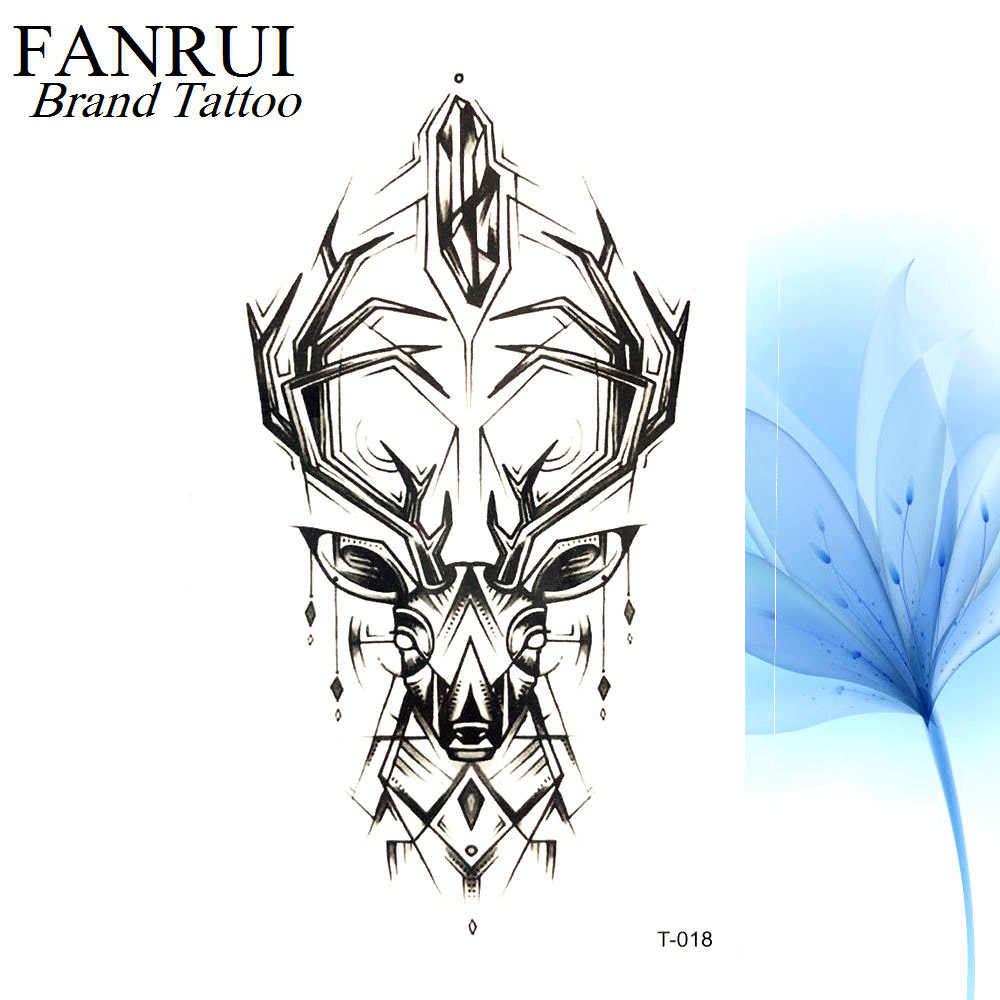 4392064ec ... Cool Geometry Elk Chains Water transfer Tattoo Antlers Body Arm Art  Temporary Tattoo Sticker Men Fake ...