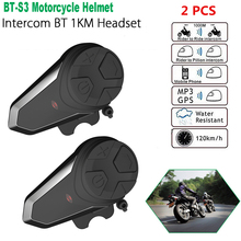 Dropshipping 2 pcs BT-S3 Pro motorcycle helmet intercom motorbike wireless bluetooth Headset waterproof FM Radio BT Interphone