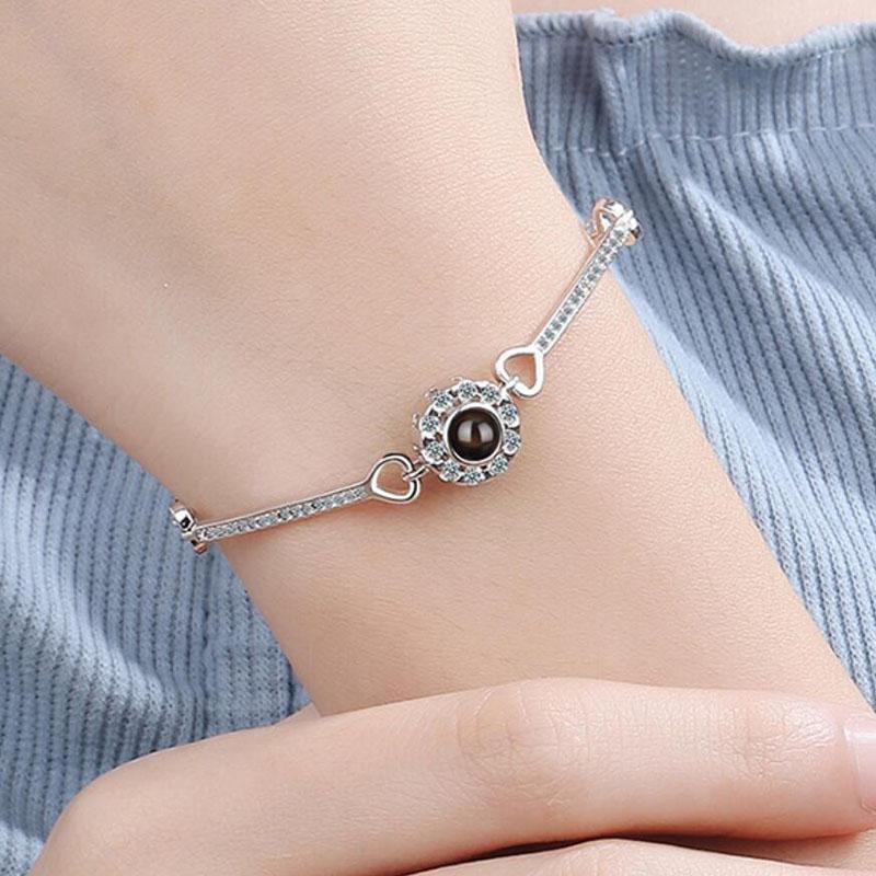 KOFSAC New Fashion 925 Sterling Silver Bracelets For Women Jewelry Crystal Projection I Love You Bracelet Girl Birthday Present