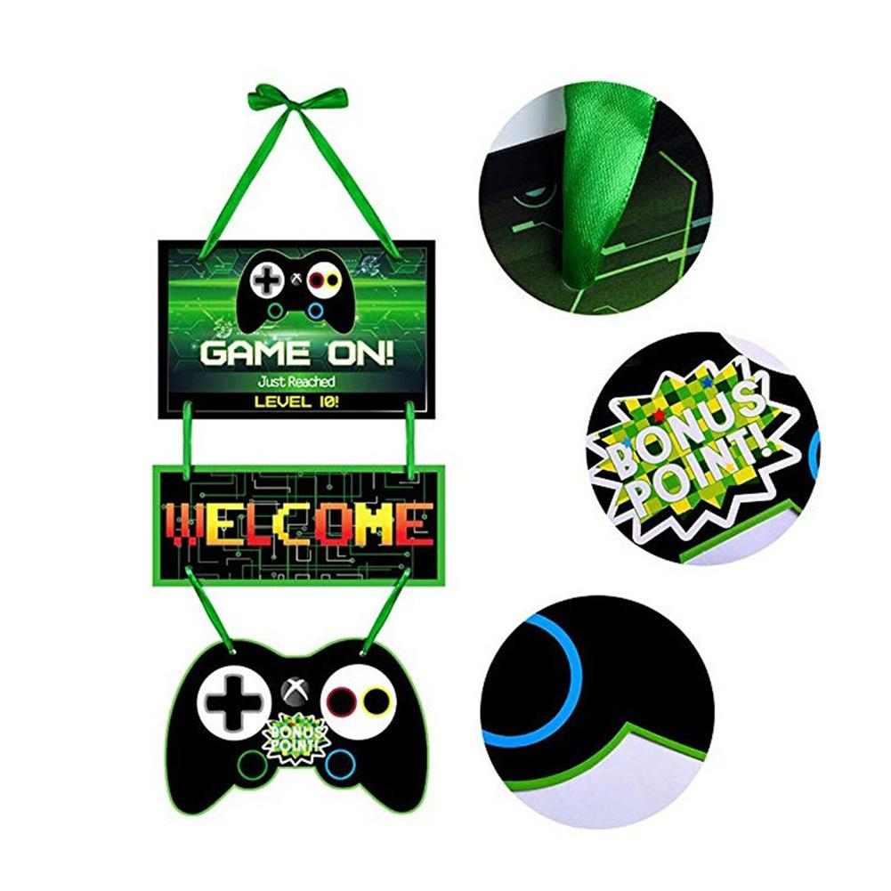 Game Theme Party Decoration Supplies Birthday Letter Banner Door Card Tag Video Game Party Supplies for Birthday Party Banner Ga image