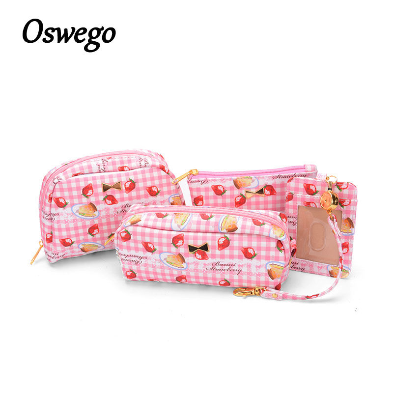 Oswego 4IN1 Cosmetic Bag Set Cartoon Print Zipper Coin Card Key Pouch Portable Travel Make Up Accessories Organizer Bag oswego brand bling sequins cosmetic bag zipper bag portable fashion small makeup bag cosmetic cases organizer travel toilet kit