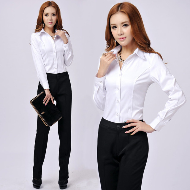 Newest Elegant Long Sleeved Formal Shirts Professional Business Women Office Work Wear Blouses S Tops