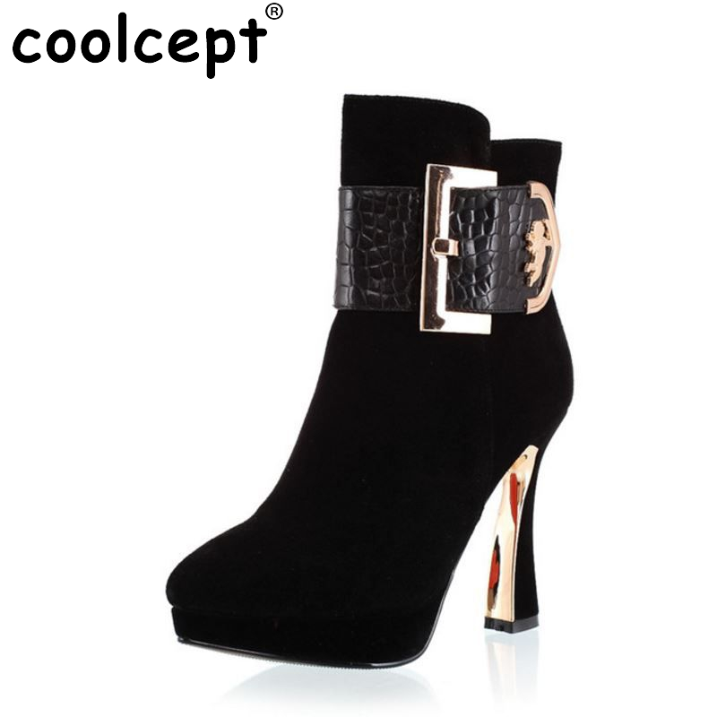 CooLcept Free shipping half ankle short natrual real genuine leather high heel boots women snow boot shoes R2085 EUR size 34-39 size 33 43 women real natrual genuine leather snow high heel ankle boots half short botas winter boot warm footwear shoes r7401
