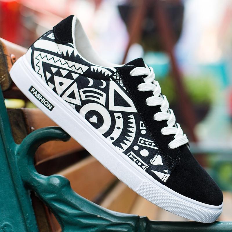 2 La Casuales Nueva 1 2019 Moda Bajo Los Lona Deporte Zapatillas Negro Marca Hombre Hombres De Impresión Masculino Tenis Zapatos RqqaBwOH