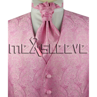 hot Free shipping 5 Button pink paisley Tuxedo Vest