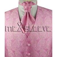 Heißes Freies verschiffen 5 Taste rosa paisley Tuxedo Vest