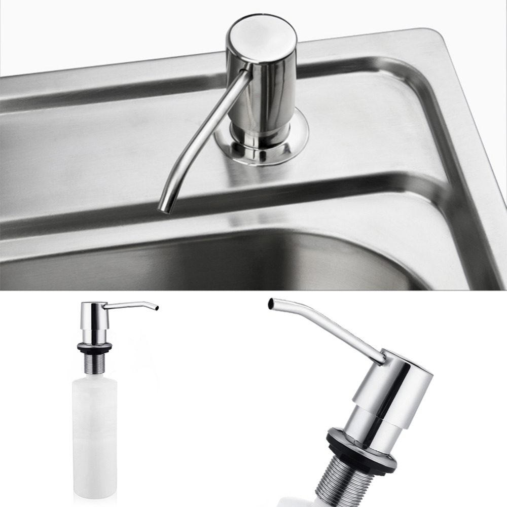 Home Improvement Bathroom Fixtures Plastic Metal Bottle Kitchen White 300ml Liquid Soap Sink Dispenser