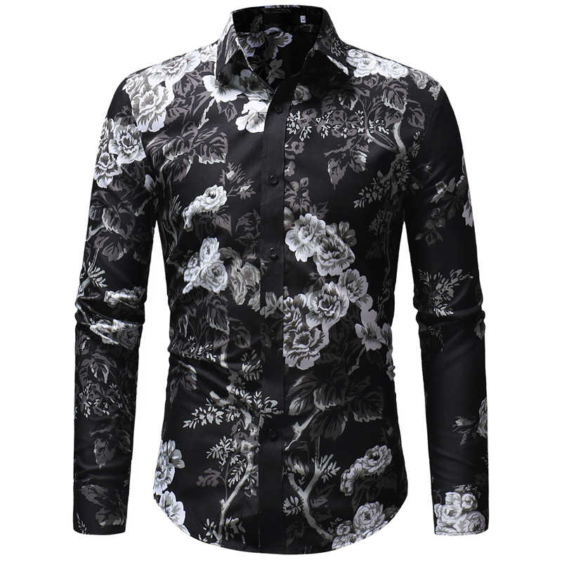 Мужская рубашка с длинными рукавами и цветочным рисунком гавайская рубашка Masculina 2018 Модная брендовая мужская рубашка для свадебной вечеринки мужские рубашки Chemise