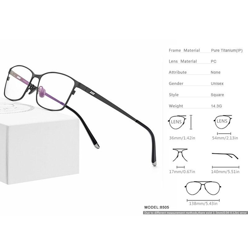 Titane pur Prescription lunettes cadre hommes carré lunettes 2019 mâle classique plein optique lunettes montures Gafas Oculos 8505 - 3