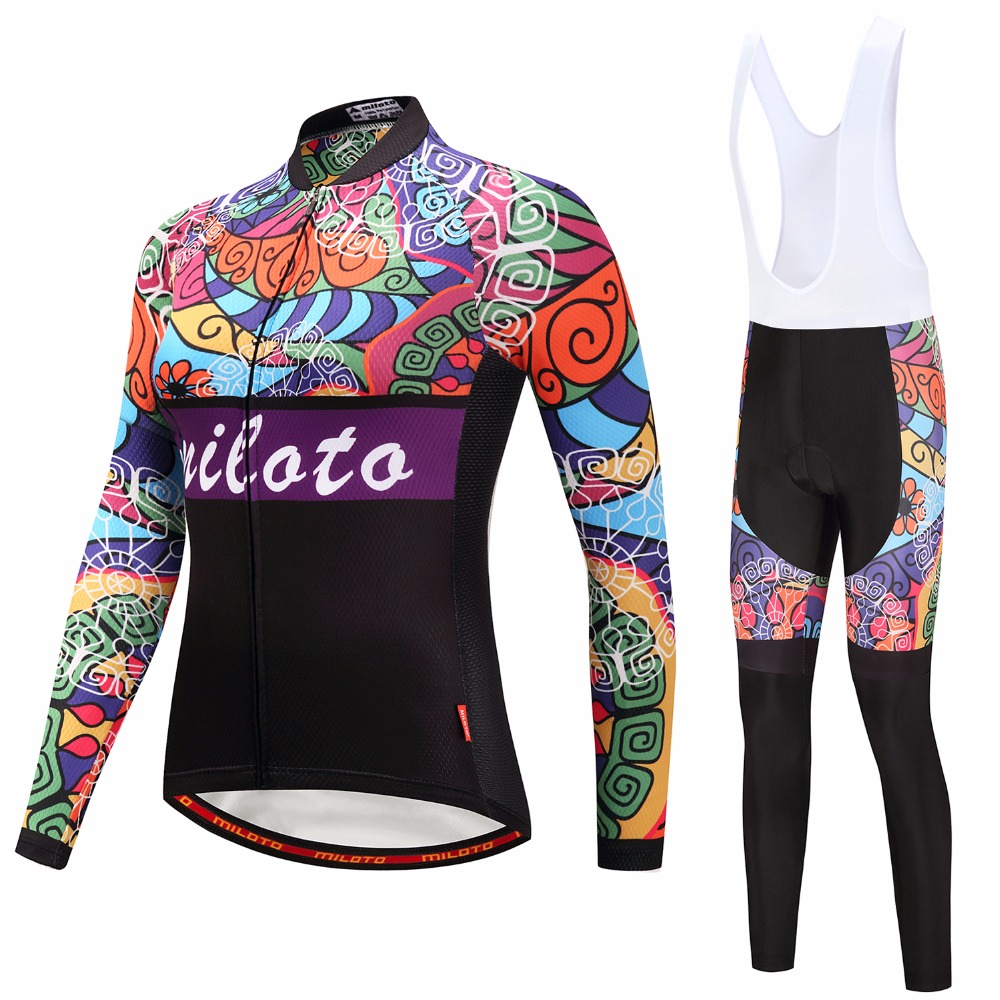 Miloto 2018 Women Cycling Jersey set Long Sleeve Summer Bicycle Cycling Clothing mtb Bike Jersey Shirts Maillot Ropa Ciclismo