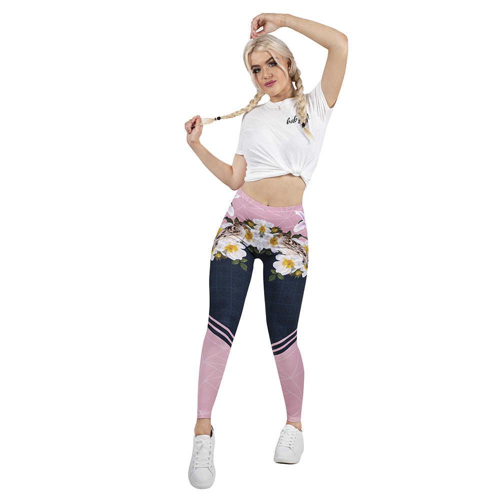 2019 frauen Legging Frühling In Blüte 3D Druck Leggins Schlank Hohe Elastizität Legins Beliebte Fitness Leggings Weiblichen Hosen