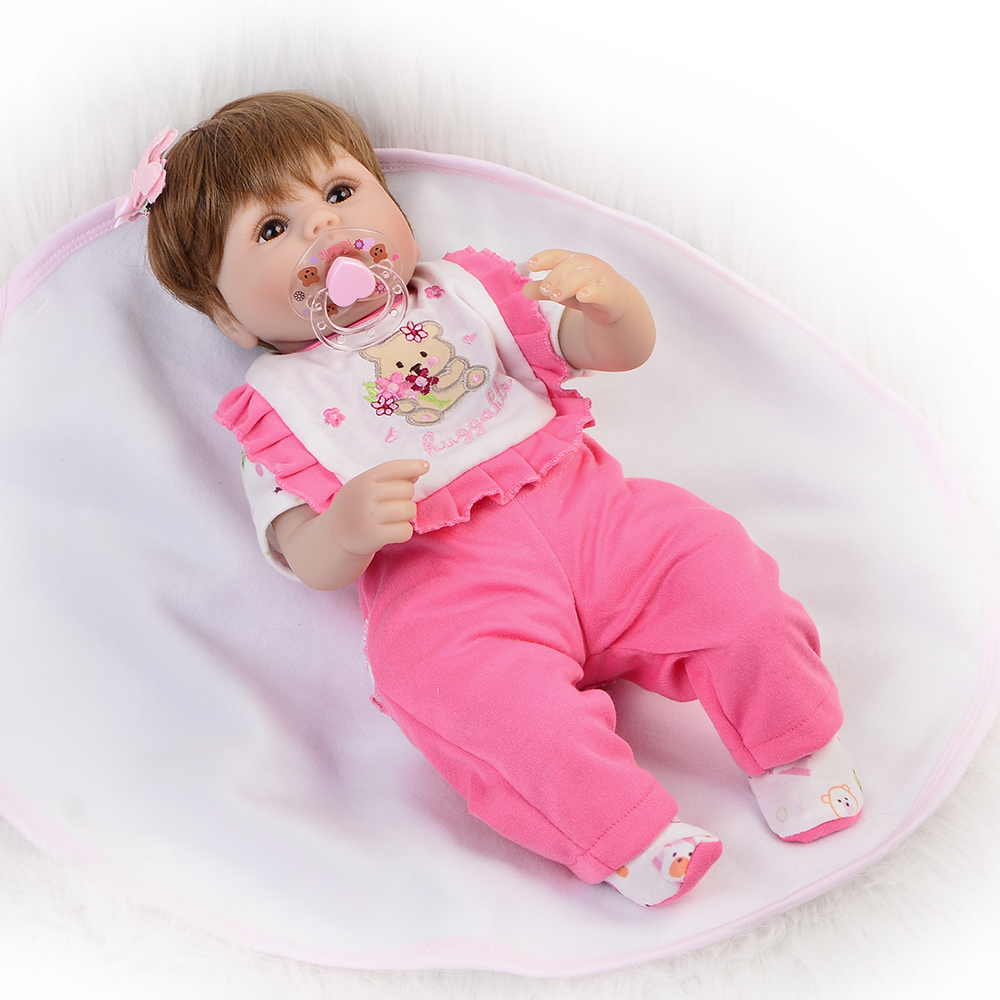 16 Silicone Reborn Baby Dolls New  Girl Toy Realistic Babies Doll 40 cm Wear Pink Clothes Lovely Fat bebe kids Xmas Gifts16 Silicone Reborn Baby Dolls New  Girl Toy Realistic Babies Doll 40 cm Wear Pink Clothes Lovely Fat bebe kids Xmas Gifts