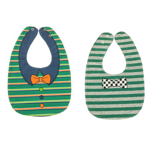 Hey-Pitch Bow double-sided cartoon buckle baby bracelet baby mouth scarf color: green stripes