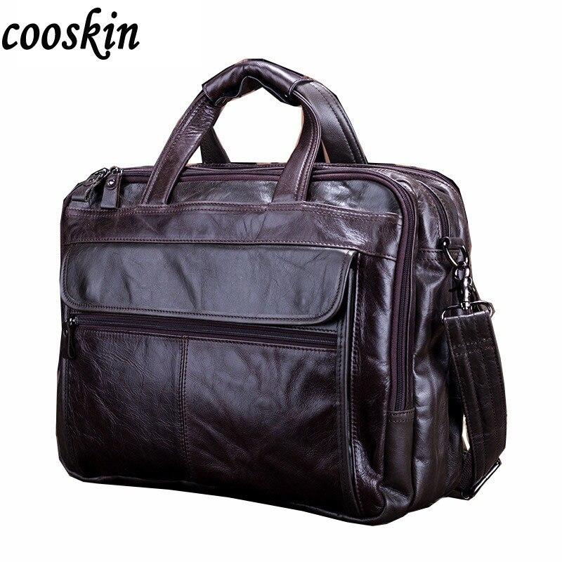 ФОТО  New Arrival Men's Genuine Leather handbag  Messenger Pack Causal  Laptop Shoulder Bag