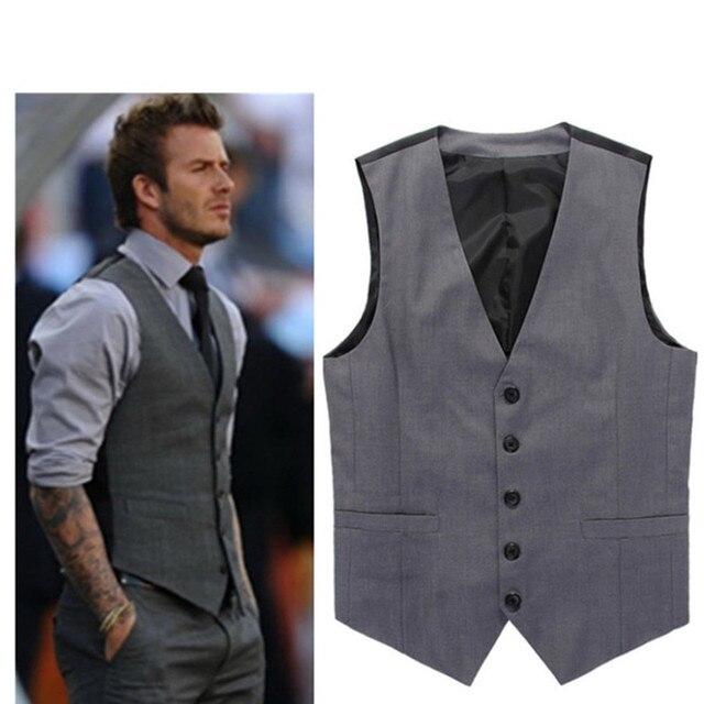 89c3721b6cd23 Sıcak Satış Gri Slim Fit Erkekler Için Elbise Yelek David Beckham Resmi  Erkek Takım Elbise Düğün