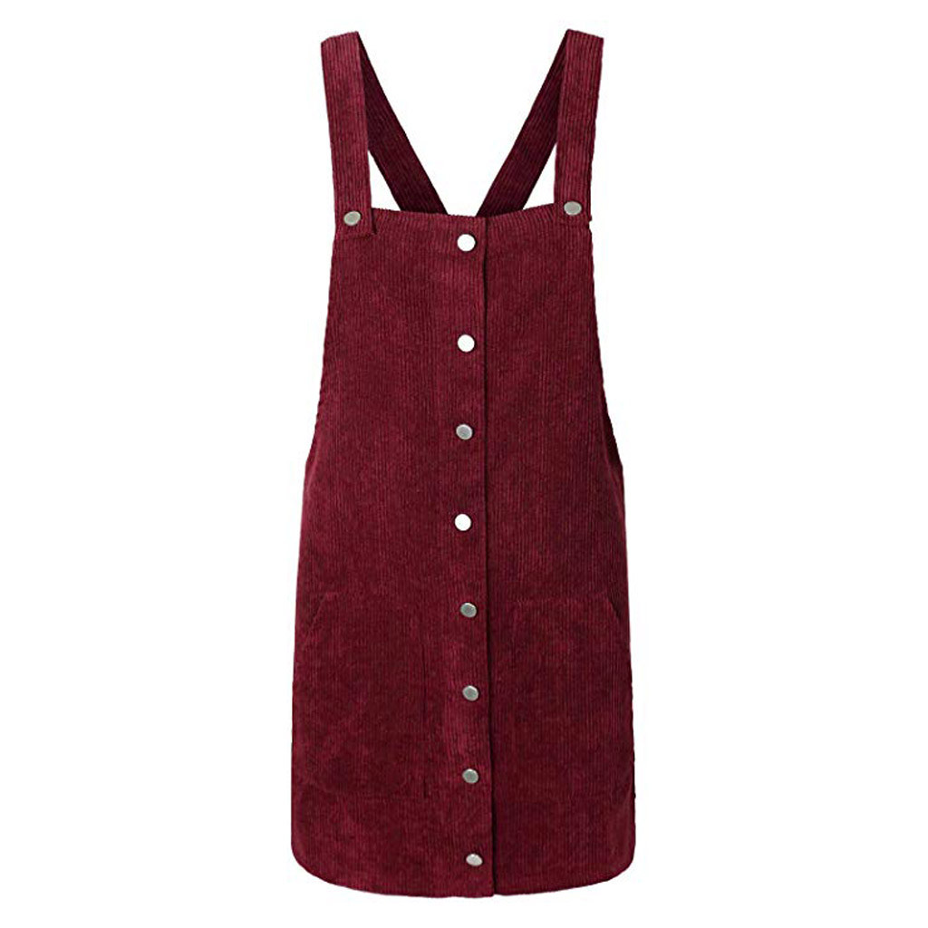 HTB1jhWQaZvrK1Rjy0Feq6ATmVXaY Free Ostrich 2019 Pink Wick Velvet Women Corduroy Straight Suspender Mini Bib Overall Pinafore Casual Button Dress Hot Sales