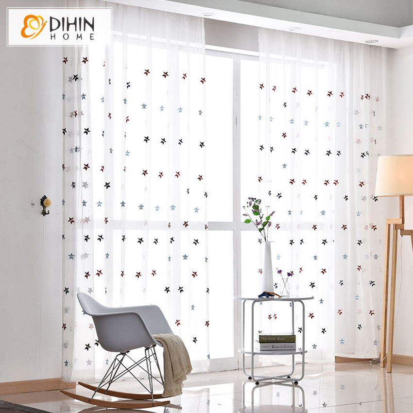 Modern Cartoon Stars Pattern Cotton Linen Tulle Curtains For Living Room Window Screening Voile