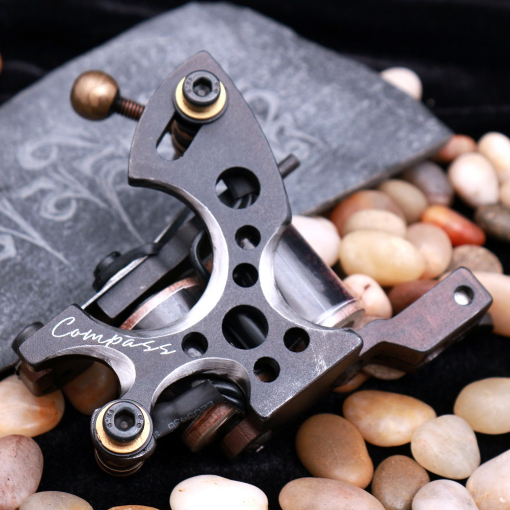 Top Quality  Compass Tattoo Machine  Shader And Liner Gun 10 Wraps Steel Frame Copper Coils Tattoo Supplies