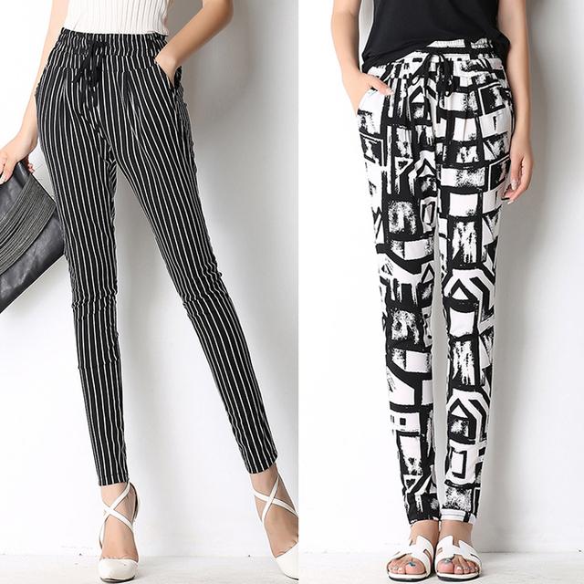 Senhoras primavera Calças Basculador Calça Plissado Cordão Sweatpant Abstrato Mulheres verão calça Casual Com bolso Impresso Calças