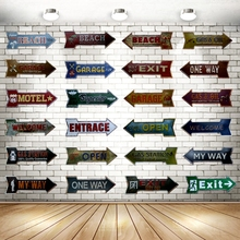 Welcome Exit Way Out Arrow Irregular Tin Signs Plaque Metal Vintage Wall Home Garage Pub Restaurant Art Decor 42X10CM U-2