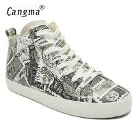 CANGMA оригинальный Для женщин Осенняя обувь на плоской подошве Обувь MID Женский печати Женская Белый Пояса из натуральной кожи Спортивная обу