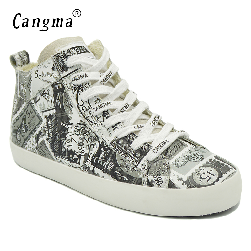 CANGMA Original Women Autumn Flat Shoes Mid Female Printing Woman's White Genuine Leather Sneakers Shoes Lace Up Luxury Footwear cangma original black footwear woman s casual shoes mid genuine leather sneakers women trainers female adult handmade shoes