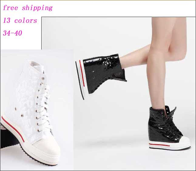 new arrival 2018 Quilted thread hidden high heels Elevator wedge platform high top lace up boots fashion women casual shoe 34-40