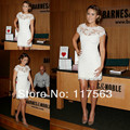 Lauren Conrad Sheer Neck White Lace Short Sleeve Barnes & Noble On 86th Boutique Dress Celebrity Event Dress CD053