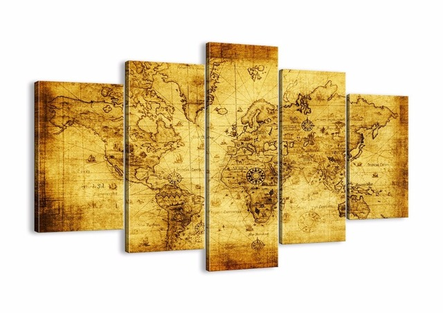 Framed 5 Panels World Map Modern Home Wall Decorative Canvas Picture ...