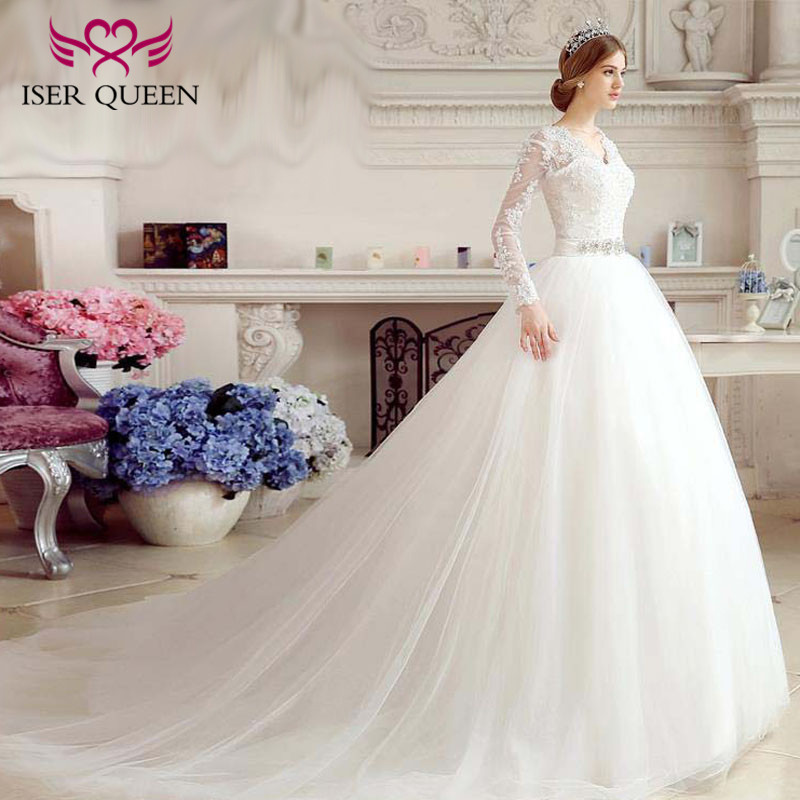 Backless Long Sleeve Ball Gown Tulle Wedding Dress Plus Size V neck Crystal Beading Sashes Vintage