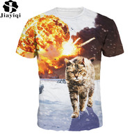 Fashion Brave Cats Printed Summer T Shirt Women Casual Lady Top Tees Brand Clothing Europe And