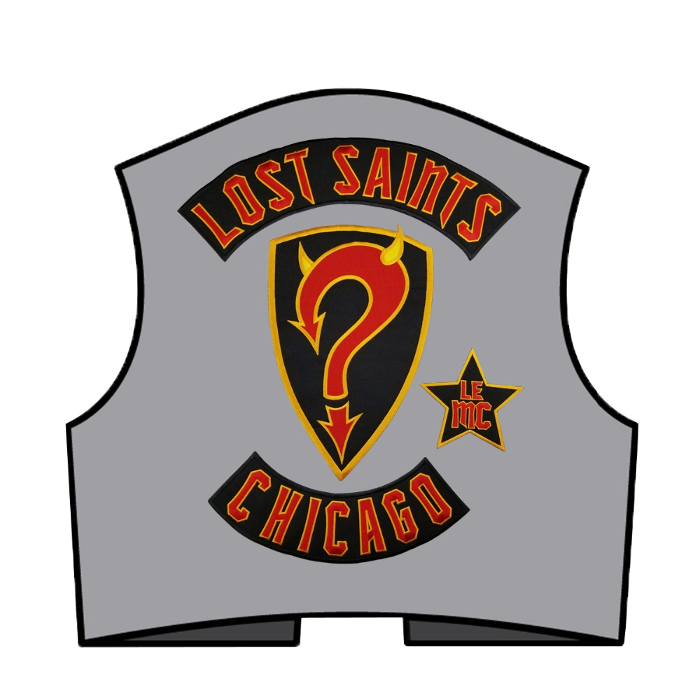 Red devil lost saints mc rocker patch embroidery full back size patches for jacket rion on transfer backing in Patches from Home Garden