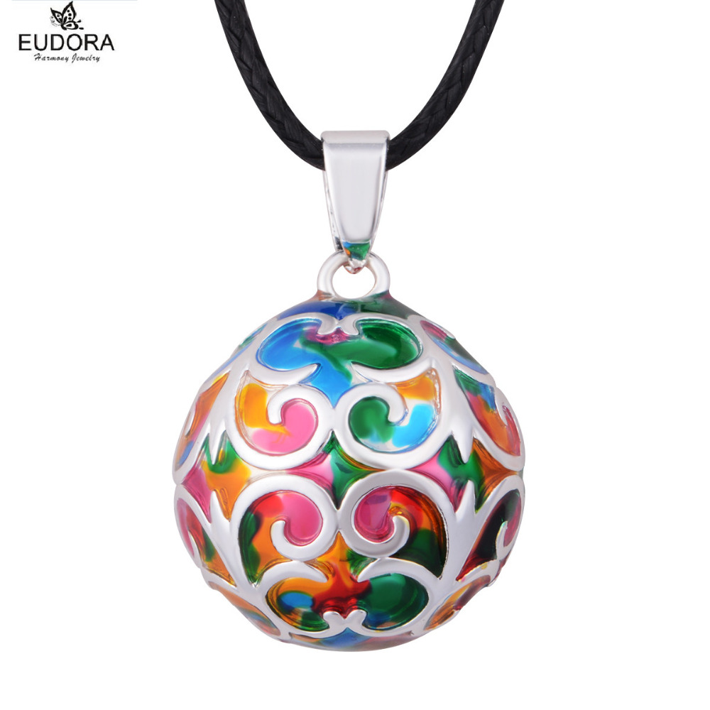 5Piece Wholesale Colorful Flower Special Design Baby Angel Caller Chime Ball Pendant 22mm Eduora Harmony Bola Pendants Necklace