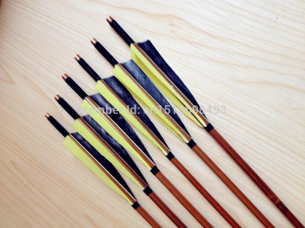 12PK noir et jaune plume bambooflèches pour tir à l'arc longbow chasse bambou flèches