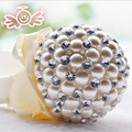 High Quality Gorgeous 2016 Ivory Pearl Wedding Bouquets Buque De Noiva Crystal Ball-Flower Wedding Accessories Decorations