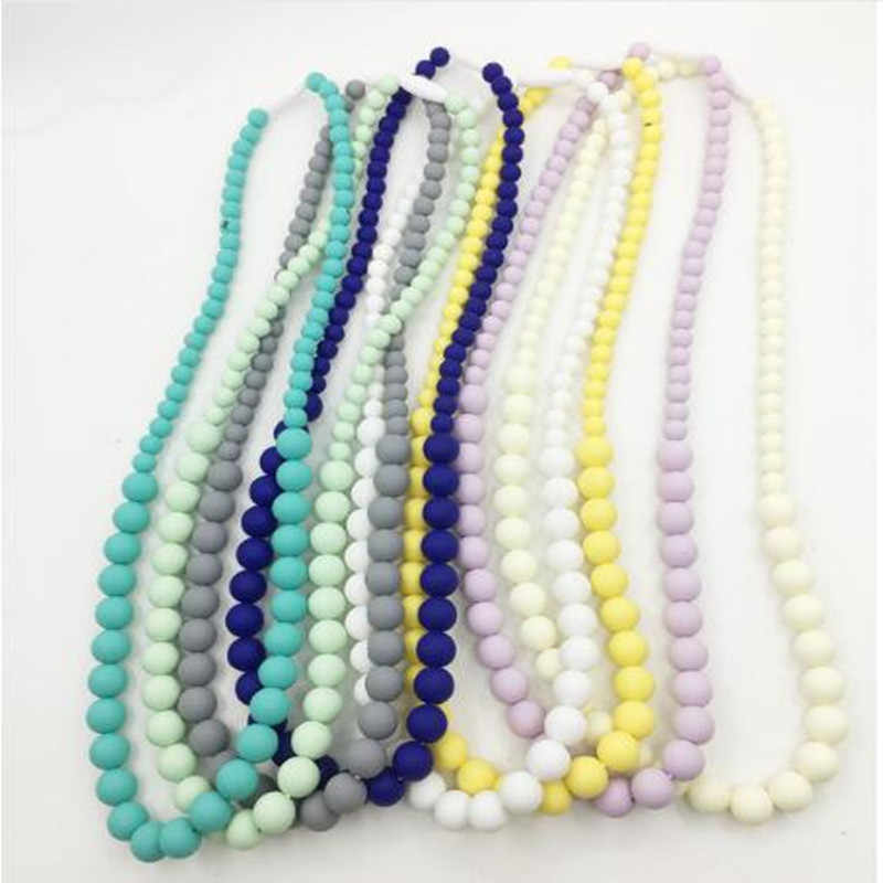 FDA Approved Silicone Chew Teething Necklace with chew beads for Mommy Teethers Baby Chew Necklace Silicone Beads