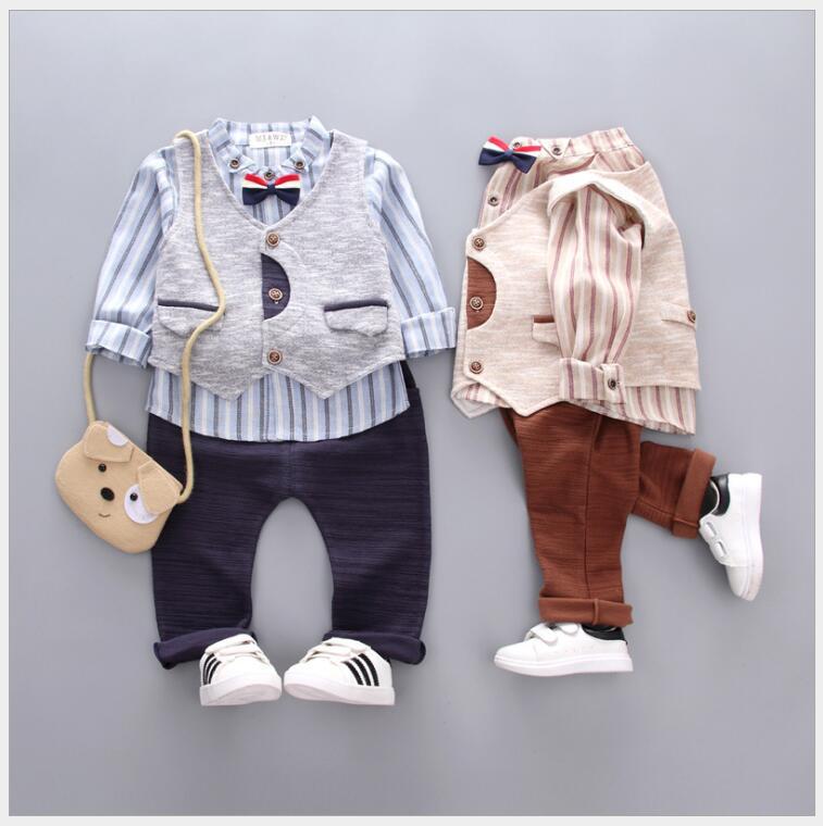 Enfant en bas âge garçons vêtements ensemble coton rayé 3 pièces tenues automne garçons vêtements ensemble enfants garçon vêtements pour fête d'anniversaire soirée