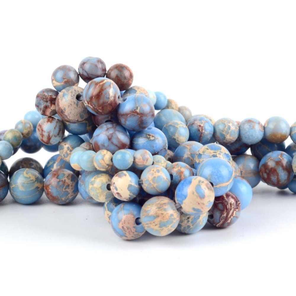 8mm Natürliche Licht Blue Sea Sediment Jaspers Stein Runde Perlen für Schmuck Machen 15 zoll Lose Perlen Diy Hand zubehör